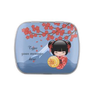 Red Sakura Kokeshi Doll - Cute Geisha Girl Jelly Belly Candy Tin