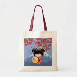 Red Sakura Kokeshi Doll - Cute Geisha Girl Tote Bag