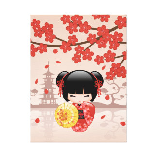 Red Sakura Kokeshi Doll - Japanese Geisha Canvas Print