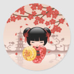 Red Sakura Kokeshi Doll - Japanese Geisha Classic Round Sticker