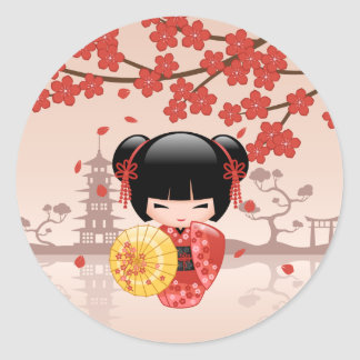 Red Sakura Kokeshi Doll - Japanese Geisha Classic Round Sticker