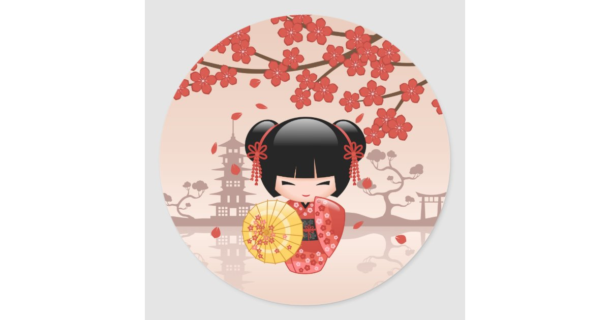 Red sakura kokeshi doll japanese geisha classic round for Stickers kokeshi