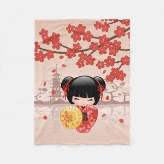 Red Sakura Kokeshi Doll - Japanese Geisha Fleece Blanket