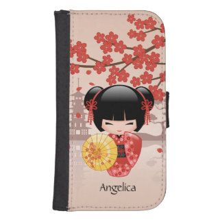 Red Sakura Kokeshi Doll - Japanese Geisha Galaxy S4 Wallet Case