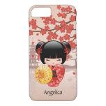 Red Sakura Kokeshi Doll - Japanese Geisha iPhone 7 Case