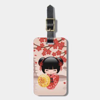 Red Sakura Kokeshi Doll - Japanese Geisha Luggage Tag