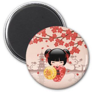 Red Sakura Kokeshi Doll - Japanese Geisha Magnet