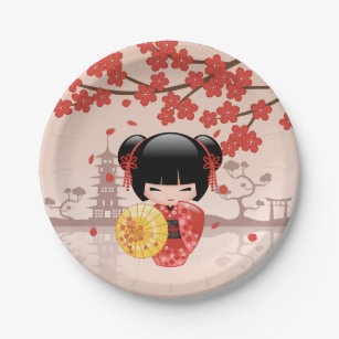Red Sakura Kokeshi Doll - Japanese Geisha Paper Plate  sc 1 st  Zazzle & Japanese Sakura Plates | Zazzle