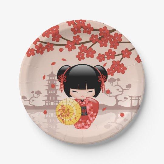 Red Sakura Kokeshi Doll Japanese Geisha Paper Plate