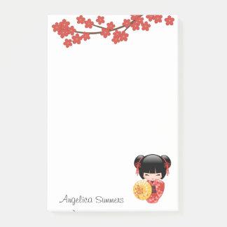 Red Sakura Kokeshi Doll - Japanese Geisha Post-it Notes
