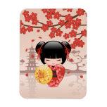 Red Sakura Kokeshi Doll - Japanese Geisha Rectangular Photo Magnet