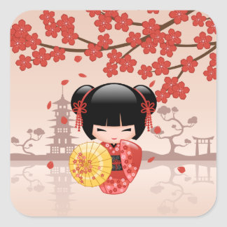 Red Sakura Kokeshi Doll - Japanese Geisha Square Sticker