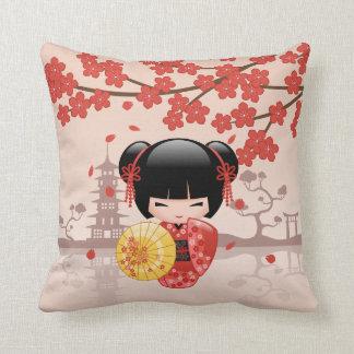 Red Sakura Kokeshi Doll - Japanese Geisha Throw Pillow
