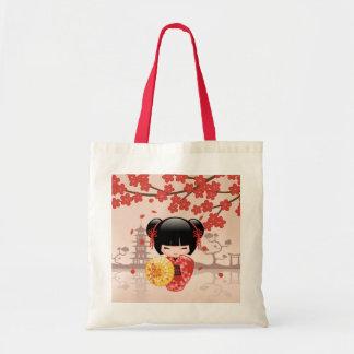 Red Sakura Kokeshi Doll - Japanese Geisha Tote Bag