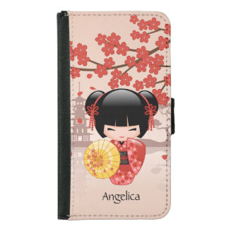 Red Sakura Kokeshi Doll - Japanese Geisha Wallet Phone Case For Samsung Galaxy S5
