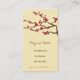 Cherry blossoms business cards zazzle red sakura oriental cherry blossoms business card colourmoves