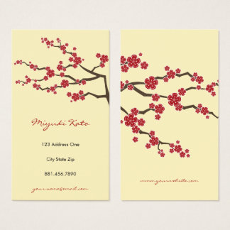 Red Sakura Oriental  Cherry Blossoms Business Card