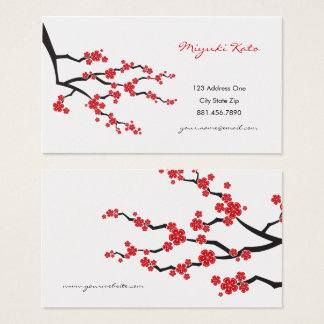 Red Sakura Oriental Cherry Blossoms Business Cards