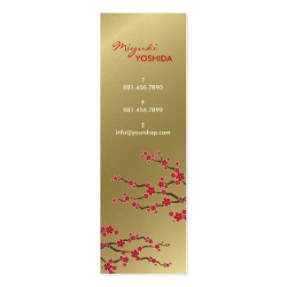 Red Sakura Oriental Cherry Blossoms Profile Card Double-Sided Mini Business Cards (Pack Of 20)