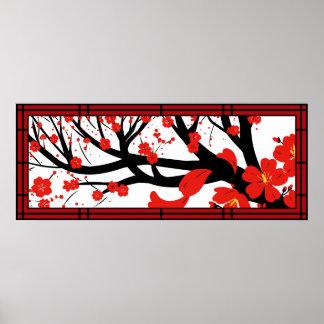 Red Sakura Posters