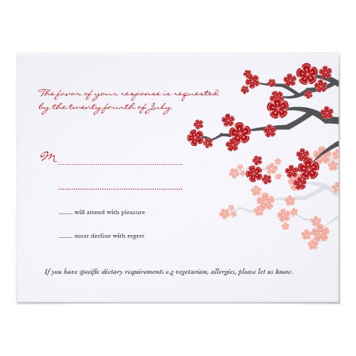 Red Sakuras Cherry Blossoms Custom RSVP Reply Card Personalized Announcements