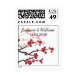 Red Sakuras Cherry Blossoms Custom Wedding Stamps