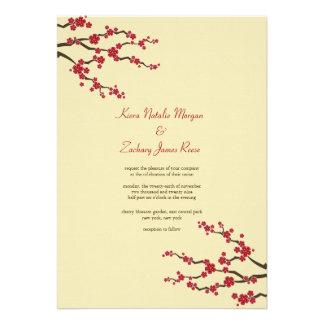 Red Sakuras Cherry Blossoms Oriental Zen Wedding Custom Announcements