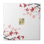 Red Sakuras Chinese Wedding Gold Gift Tile