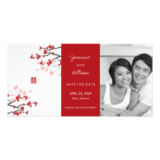 Red Sakuras & Double Happiness Save The Date Photo Cards