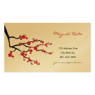 Red Sakuras Oriental Zen Asian Cherry Blossoms Double-Sided Standard Business Cards (Pack Of 100)