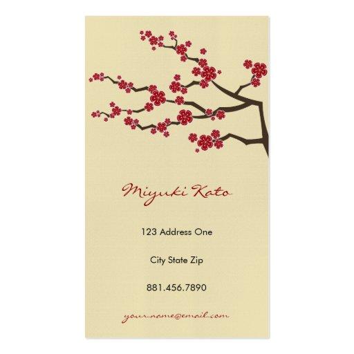 Red Sakuras Oriental  Zen Cherry Blossoms Business Card