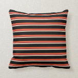 [ Thumbnail: Red, Salmon, Dark Red, Bisque, and Black Colored Throw Pillow ]