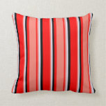 [ Thumbnail: Red, Salmon, Lavender, and Black Colored Lines Throw Pillow ]