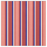 [ Thumbnail: Red, Salmon, Light Yellow & Blue Pattern Fabric ]