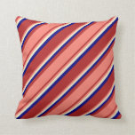 [ Thumbnail: Red, Salmon, Light Yellow & Blue Pattern Pillow ]