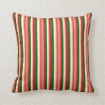 [ Thumbnail: Red, Salmon, Tan, Mint Cream & Dark Green Colored Throw Pillow ]