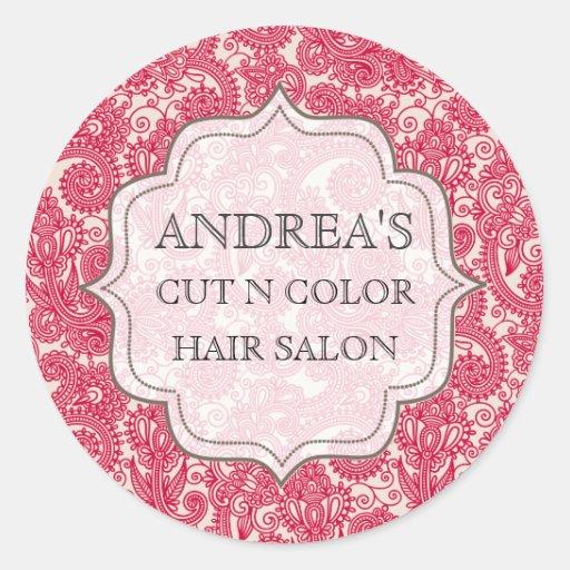 Red Salon Designer Hair Stylist Business Tag Label Round Stickers