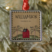 RED SALTBOX HOUSE FAMILY NAME RUSTIC METAL ORNAMENT