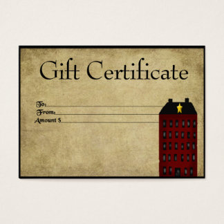 Red Saltbox House- Prim Gift Certificate Gift Card