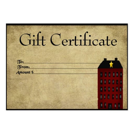 Red Saltbox House- Prim Gift Certificate Gift Card Business Card