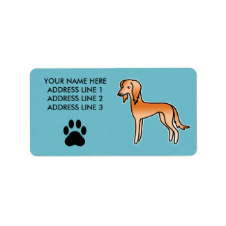 Red Saluki Cartoon Dog Label