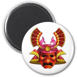 Red samurai mask fridge magnet