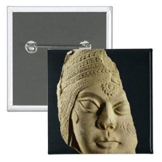 Red sandstone head of Yakshi, Bharhut, 2nd century 2 Inch Square Button