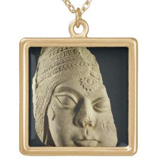 Red sandstone head of Yakshi, Bharhut, 2nd century Square Pendant Necklace