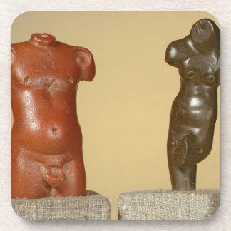 Red sandstone male torso and grey sandstone dancer beverage coaster