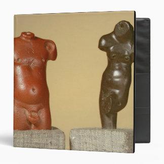 Red sandstone male torso and grey sandstone dancer 3 ring binder
