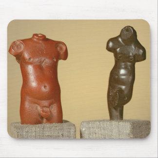 Red sandstone male torso and grey sandstone dancer mouse pad