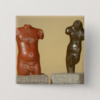 Red sandstone male torso and grey sandstone dancer pinback button