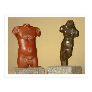 Red sandstone male torso and grey sandstone dancer post card