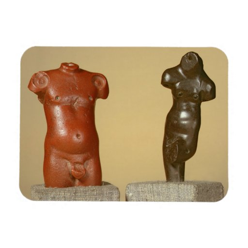Red sandstone male torso and grey sandstone dancer flexible magnets